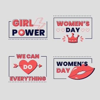 Coleção de crachás do dia internacional da mulher