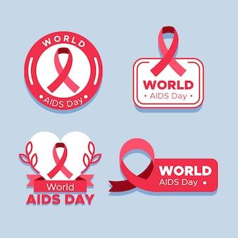 Coleção de crachás do dia mundial da aids