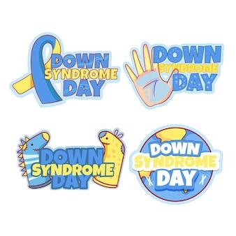 Coleção de crachás do dia mundial da síndrome de down
