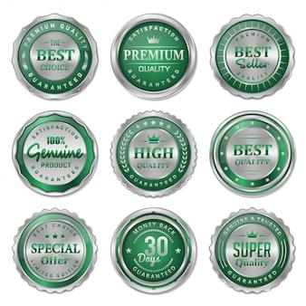 Coleção de crachás e etiquetas de metal verde e prata
