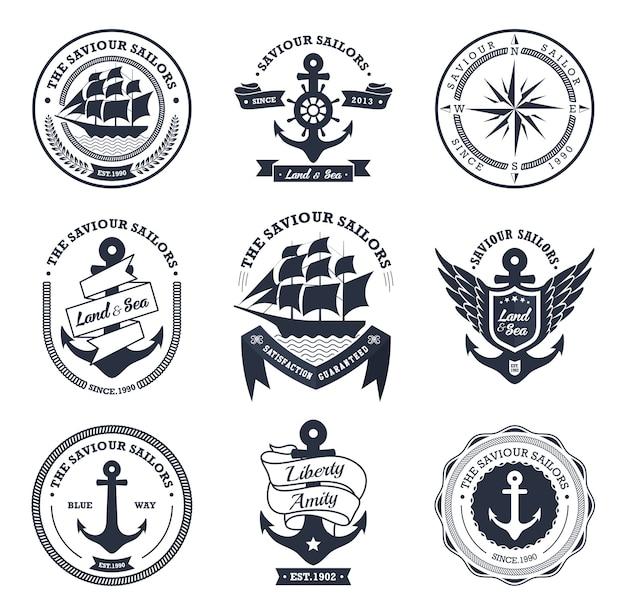 Coleção de crachás e etiquetas náuticas vintage