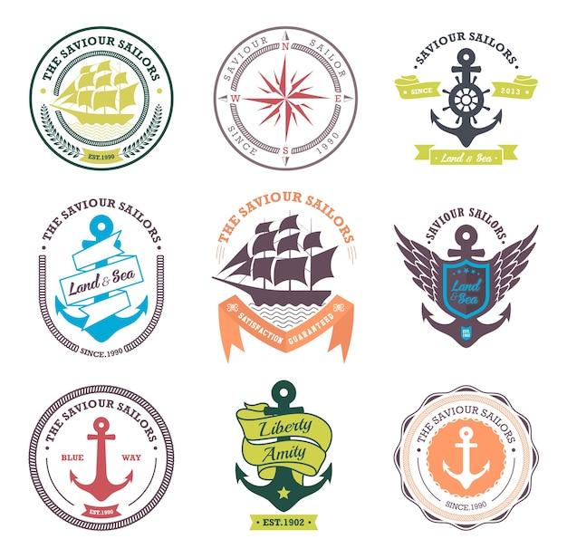 Coleção de crachás e etiquetas náuticas