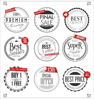 Coleção de crachás e etiquetas retrô