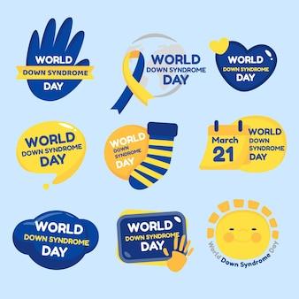Coleção de crachás para o dia da síndrome de down no mundo plano