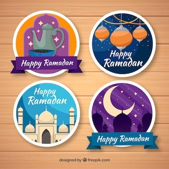 Coleção de crachás redondos ramadan