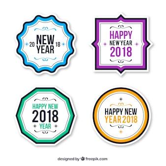 Coleção de crachás simples ano novo 2018