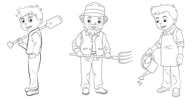 Coleção de criador de desenhos animados usada para colorir livro