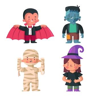 Coleção de criança halloween design plano