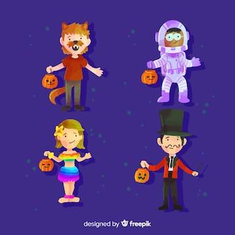 Coleção de criança halloween em aquarela
