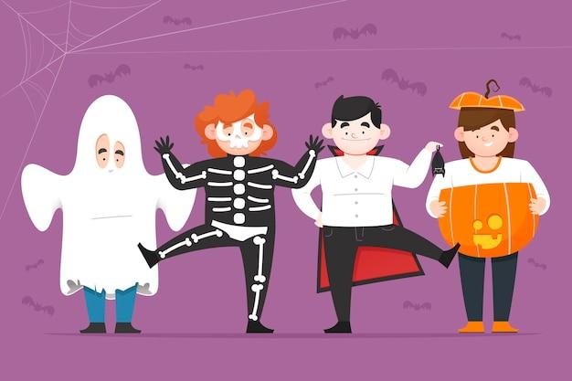 Coleção de criança halloween plana