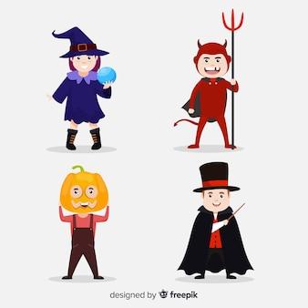Coleção de criança plana dos desenhos animados de halloween