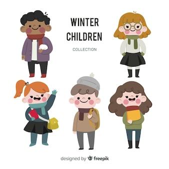 Coleção de crianças adoráveis com roupas de inverno