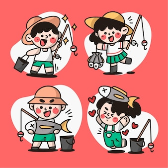 Coleção de crianças adoráveis pescando ilustração de doodle premium