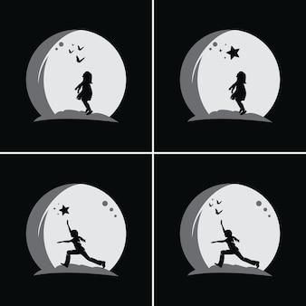 Coleção de crianças alcançando sonhos com fundo de lua