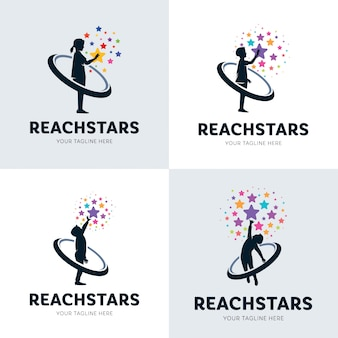 Coleção de crianças atingindo o conjunto de logotipo estrela