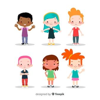 Coleção de crianças coloridas com design plano