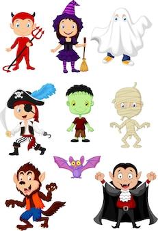 Coleção de crianças com fantasia de halloween