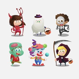Coleção de crianças com fantasias de halloween