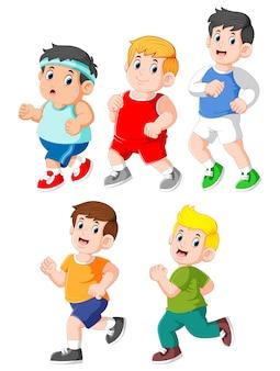 Coleção de crianças correndo conjunto de coleta