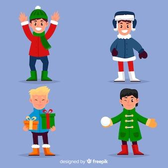 Coleção de crianças de inverno