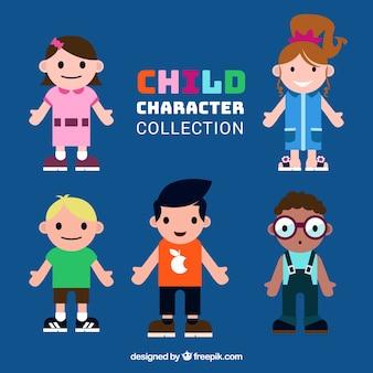 Coleção de crianças em design plano