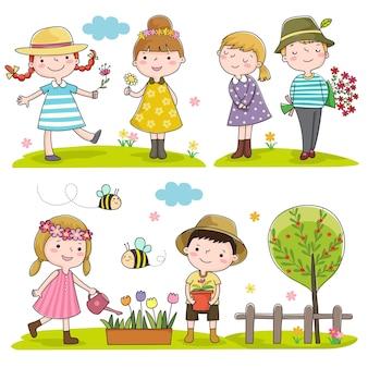 Coleção de crianças felizes ao ar livre na primavera