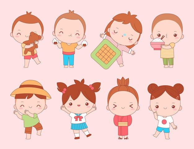 Coleção de crianças japonesas kawaii