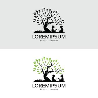 Coleção de crianças lendo modelo de design de logotipo