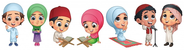 Coleção de crianças muçulmanas