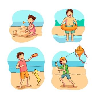 Coleção de crianças na praia