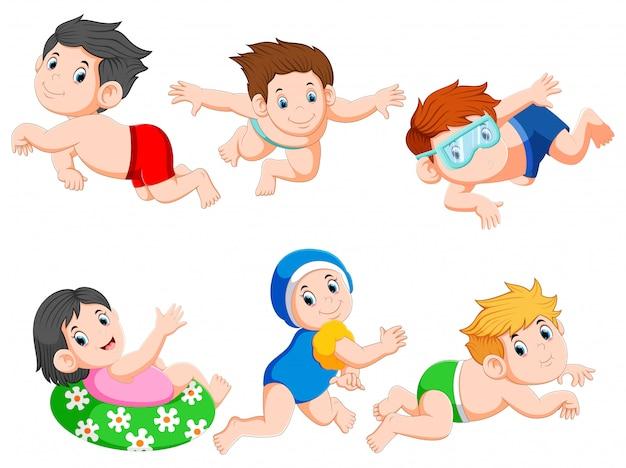 Coleção de crianças nadando conjunto de coleta