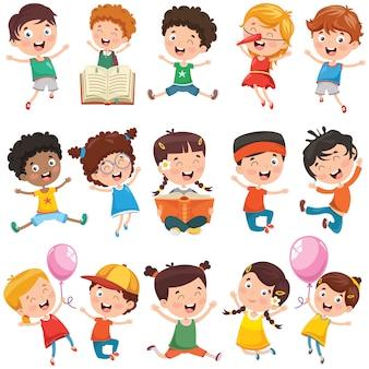 Coleção de crianças pequenas dos desenhos animados