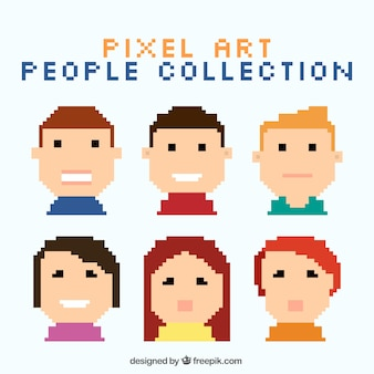 Coleção de crianças pixelizada