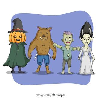 Coleção de criaturas assustadoras de halloween