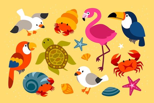 Coleção de criaturas tropicais quentes de verão em