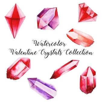 Coleção de cristal dos namorados em aquarela