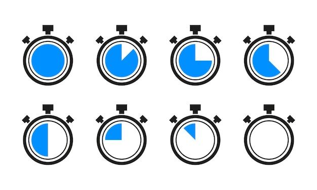 Coleção de cronômetro de relógio temporizador izolated no fundo branco. ilustração vetorial.