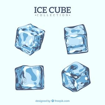 Coleção de cubo de gelo com estilo desenhado de mão