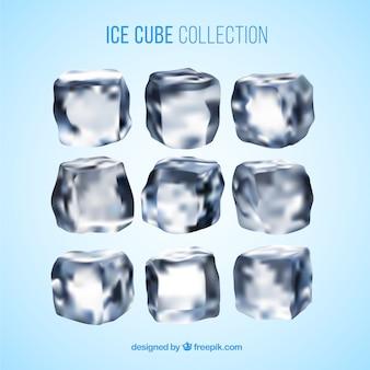 Coleção de cubo de gelo com estilo realista