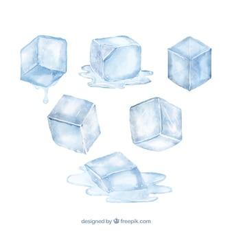 Coleção de cubo de gelo em aquarela