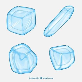 Coleção de cubos de gelo com design 2d