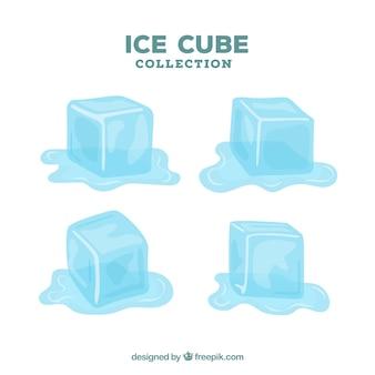 Coleção de cubos de gelo com design plano