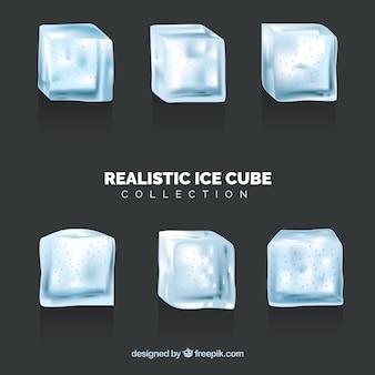 Coleção de cubos de gelo com design realista
