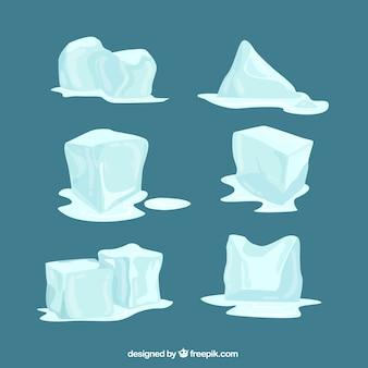 Coleção de cubos de gelo derretendo