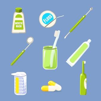 Coleção de cuidados de dentista e dentes
