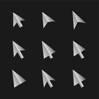 Coleção de cursores de estilo 3d em várias formas