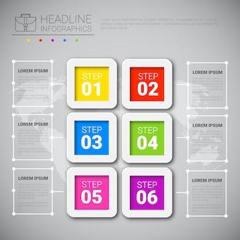 Coleção de dados de negócios de design de infográfico de manchete sobre espaço de cópia de apresentação de mapa mundo
