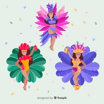 Coleção de dançarina de carnaval a sorrir