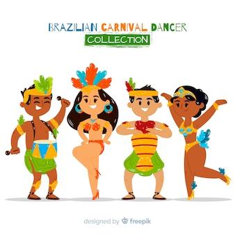 Coleção de dançarina de carnaval brasileiro bonito