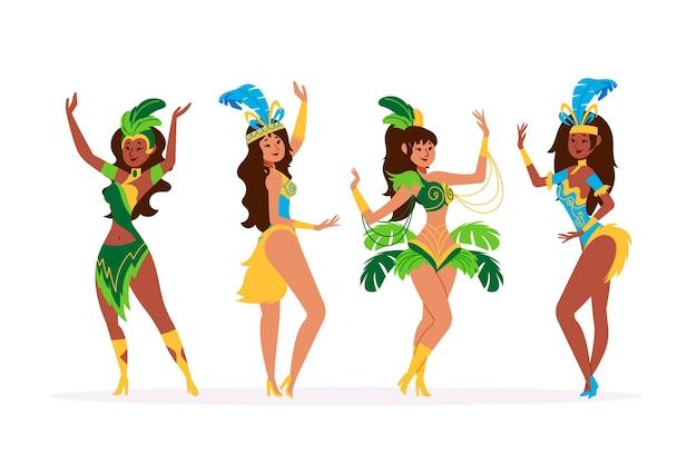 Coleção de dançarina de carnaval brasileiro colorido